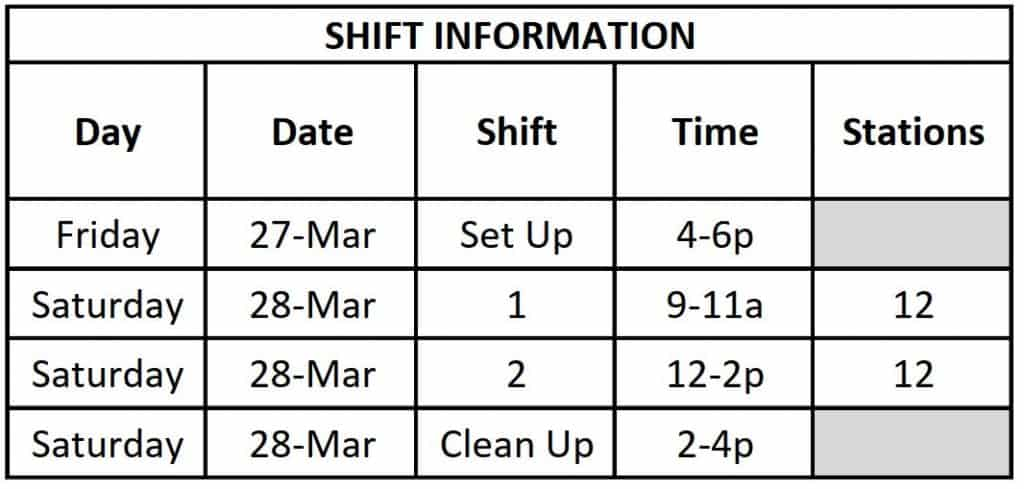 Shift Schedule (Table)